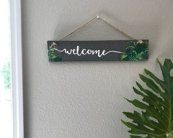 Hand-Painted Wooden Tropical Welcome  Sign