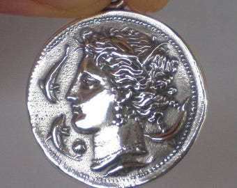 For Sale Artemis Large Silver Coin Pendant - Syracuse Coin - Diana
