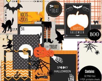 Halloween Journal Cards - Instant Download - Printable journaling cards for Project Life and digital scrapbooking