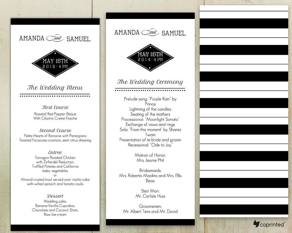 Vegas Wedding programa plantilla destino monograma Las