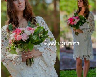 Size S, Bohemian Short Wedding Dress, Crochet Mini Cotton Bridal Dress, Boho Country Wedding, Cowgirl Wedding