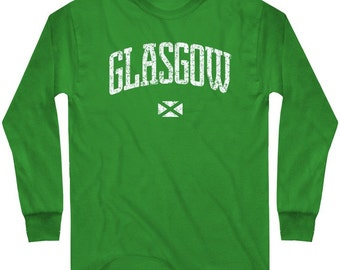 LS Glasgow Tee - Long Sleeve Scotland T-shirt - Men and Kids - S M L XL 2x 3x 4x - Scottish - 4 Colors