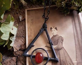 Immortized Oak, Carnelian and Copper Alchemy Necklace