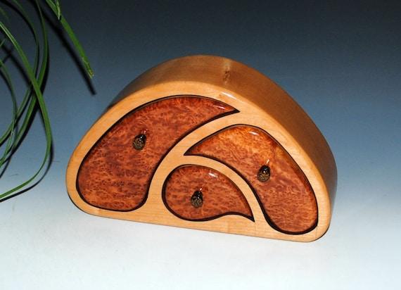 Wood Jewelry Box - Redwood Burl on Cherry TriOval Style Wooden Jewelry Box - Art Jewelry Box - Handmade Box - Wood Gift Box - Storage Box