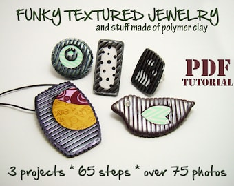 Polymer clay tutorial, PDF instructions, DIY idea, Rich texture jewelry, Funky robust jewelry, DIY oversized rings, Step by step e book,