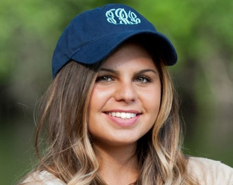 Monogram Navy Cap for Women