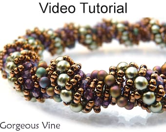 Video Tutorial Pattern Beaded Bracelet Necklace Beading Jewelry Making Tubular Dutch Spiral Stitch Instructions Direction Stitch Beads #9566