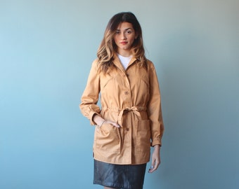 SALE camel trench coat / short trench coat / 1980s / small - medium