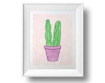 Cactus Print | Succulent Print | Letterpress | Cactus Art | Succulent Art | Pink Cactus Wall Art | Cactus Botanical Print | Botanical Poster