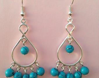 Turquoise Dangle  Earrings, Turquoise  Bead  Dangle Earrings