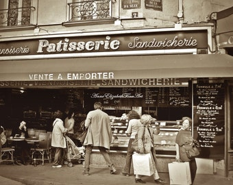 Patisserie- Pastry Shop - Paris- France - 8x10 Fine Art Photograph - Street Scene - Sepia - Bistro- Cafe-Kitchen Photography-Bakery,Food art