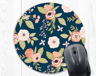 Floral Mouse Pad Mousepad Cubicle Decor Employee Gift Office Decor Coworker Gift Boss Gift Blue Coral Office Desk Accessories Desk Decor
