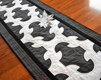 """Large Quilted Table Runner, Black and White Cotton Table Topper, Drunkard's Path Table or Bed Runner, 65"""" Long x 18"""" Wide"""" Reversible Runner"""