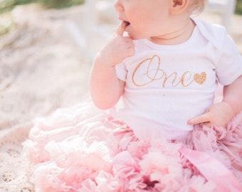 """Glitter """"one""""onesie, birthday onesie, first birthday"""