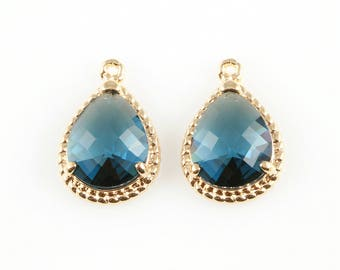2pcs Montana Blue Teardrop Glass Charm in Gold, Framed Drop Glass Gem / Birthstone / September / Sapphire / 12mm x 18mm / GMBG-006-P
