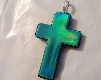 iridescent cross on 1 side and striped polymer clay on the other, Christian pendant, Christian cross, Holographic cross, OOAK