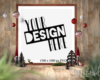 MOCKUP Christmas Styled Photo Stock Photography Square Ornaments Framed Mock up Mockups PNG Svg Designs Blank Frame Print Stylized Logo