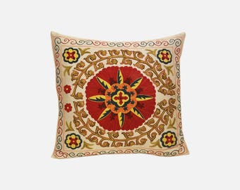 Hand Embroidered Suzani Pillow Cover SP48 (msp792), Suzani Pillow, Suzani Throw, Boho Pillow, Suzani, Decorative pillows, Accent pillows