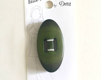 Belle Buttons By Dritz Large 50mm ( 2 inches) Large Oval Coat Jacket Button Beige Emerald Forest Dark Green *B1