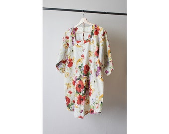1960s Open Back Floral Tunic Dress