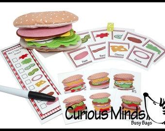 CARDS ONLY - Felt Food Sandwich Shop Busy Bag - Preschool Quiet Activity - Montessori Practical life - Pretend Play - Play Food