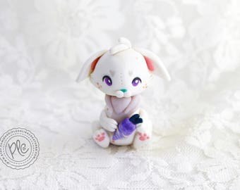Polymer Clay Bunny Figurine In White / Cute Bunny Fantasy Collectible / Clay Miniature Bunny Sculpture