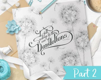 8in1 floral coloring page - beautiful floral drawing (Sea of Dandelion 2-8) - instant download graphics