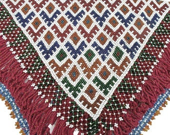 Afghanistan- Kuchi Beaded Amulet, Large Triangle, Item 7
