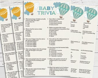 Baby Trivia, Baby Shower Game, Couples Shower Game, Balloons, Instant Download