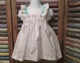 Girls dress, Girls Easter dress, Toddler dress, Girls arrow sundress, Girls Birthday dress,  Girls spring or summer dress, size 2T, #206