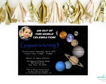 Planet Birthday Invitation, Planet Birthday Party, Solar System, Birthday Invitation, Photo Outer Space, Out of this World, Printable