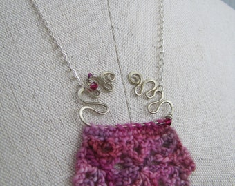 Unique crocheted necklace with filigree wire work