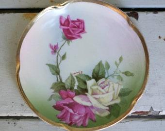 Vintage Hand Painted Rose Plate Gold Gilded Artist Signed