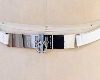 BCBG MAXAZRIA White Faux Leather and Chrome Silver Belt