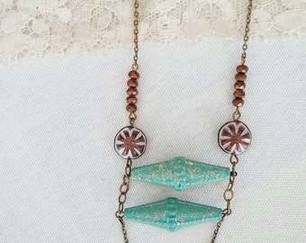 Bohemian Beaded Necklace Statement Ladder Folk Turquoise Green - The Bronze Age.