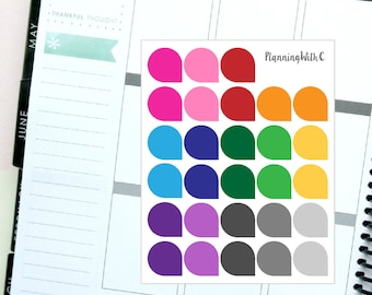 28 Medium Teardrops Rainbow Multicoloured Themed Planner Stickers for Erin Condren, Kikki K, Filofax, Happy Planner, Websters Pages