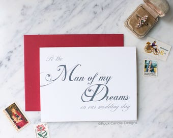 To The Man of My Dreams On Our Wedding Day Card | Card for Fiance | Stationery for husband | Note for future husband | Card for him wedding