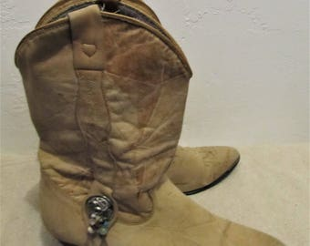 Women's Vintage 80's,Light Brown SUEDE Ankle PATCHWORK Southwestern BOOTS By Acme.8M