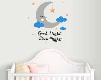 Good night Wall Decal-Nursery decal for boy-Moon wall decal-Clouds decals-Stars vinyl decal-Nursery wall decals-Kids room decor-Moon sticker