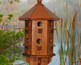 Large Bird House, Copper Birdhouse, Purple Martin Box, Farmhouse, Rustic Birdhouses, Handcrafted, Wooden Bird Houses
