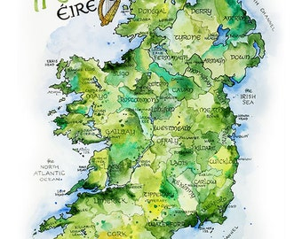 Ireland Map Watercolor Illustration Country of Ireland Irish County Dublin Northern Ireland Irish Éire Map Wall Art Print Poster