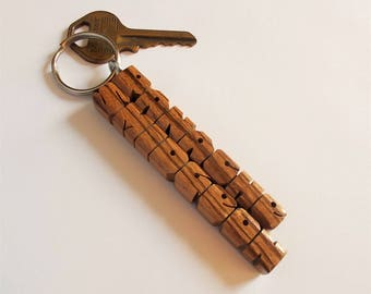 Zebrano Wood 2-Liner Keychain, Custom Carved to Order