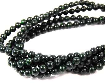 "Two 14.5"" strands Green Goldstone Beads 6mm"