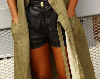 Hunter Green Denim Wrap Coat