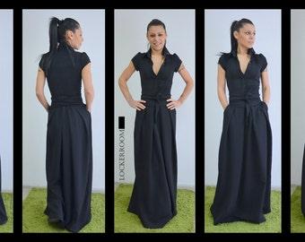 Black Long Party Dress, Elegant Dress for wedding Guest, Maxi Loose Dress, Bridesmaid Dress, Prom Dress, Infinity Dress by LOCKERROOM