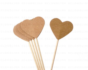 24 Kraft Paper Hearts Party Picks, Cupcake Toppers, Food Picks, Toothpicks - party supplies - No459
