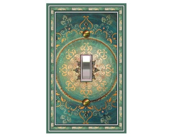 0328x- Asian Aqua Mandala - mrs butler switch plate covers - choose sizes / prices from drop down box