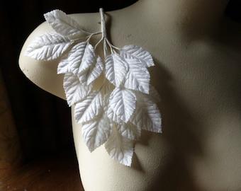 Soft White Velvet Leaves for Bridal, Ballet, Boutonierres, Headbands, Millinery, Costume Design ML 56
