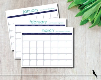 2018 Printable Wall Calendar - Modern 12 Month Calendar - Office & Home Appointment Planner - Navy and Teal Wall Calendar - Instant Download