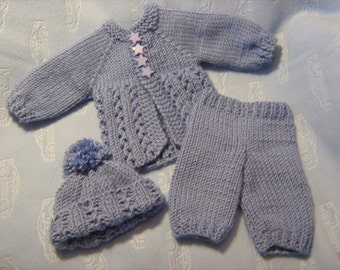 "Charlie Ribby - Matinee Set to fit 10"" Reborn - Knitting Pattern"